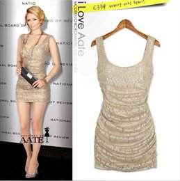 Khaki Sexy Lace Fitted Night Out Club Dresses New Fashion Scoop Neckline Sleeveless See Through Club Dresses Cheap Wholsale Available