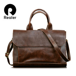 Wholesale-New leather vintage handbag men messenger bags Business briefcase for men High Quality Computer Laptop Handbag Men's Travel