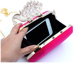 Peacock Crystal Beading Women Handbags Four Colors Available Mini Fashion Clutch Bags Wedding Evening Hand Bags Free Shipping