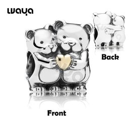 Wholesale Fashion Jewelry Stering Silver Plated Couple Bears with K GP Heart Charms Bead For European Bracelets DIY Necklace X949