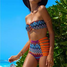 Wholesale 6Colors women vintage sexy high waist swimsuit bottom cut top bandeau floral Print high waisted bathing suits