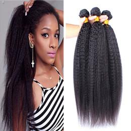 7A Malaysian Kinky Straight Virgin Human Hair 3 Bundles 100% Carse Yaki Virgin Human Hair Large In Stocks