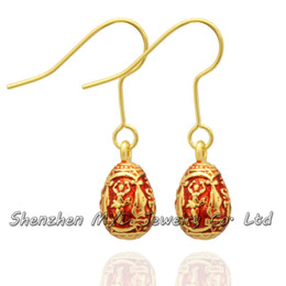 Hand Enamel Strong Man Design Faberge Egg Earring Charm Silver or Gold Plating Easter Egg Dangle Drop Earring