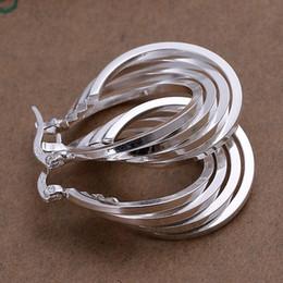 Wholesale-wholesale 925 sterling silver earrings,925 silver fashion jewelry 4line hoop Earrings for women SE157