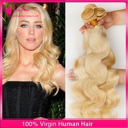 7A Russian Blonde Virgin Hair Weaves 3 Bundles 100% Unprocessed Russian Virgin Hair Body Wave 613 Platinum Blonde Human Hair Extensions
