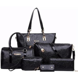 Wholesale Leather Messenger Bag Pattern - Fashion 6 PCS Set Women Handbag Crocodile Pattern Composite Bag Stone Women Messenger Bags Shoulder bag Purse Wallet PU Leather Handbags