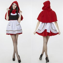 Women's Red Riding Hood Dress with Hooded Cape Costume Halloween Fairytale Maid Christmas Cosplay Size M-XXL