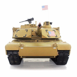 Wholesale Ghz Radio RC US M1A2 Abrams Airsoft Battle Tank Upgrade Super Metal w Smoke Sound RTR