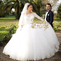 Alluring Ball Gown Wedding Dresses 2016 Off-Shoulder Neck Ivory Tulle Long Sleeves Appliques Covered Button Back Floor-Length Bridal Gowns