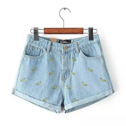 Wholesale Korean version of the summer and banana flower embroidery cotton curling plus size casual female waist denim shorts