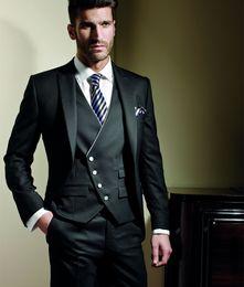 Custom Made Slim Fit Mens Suits Handsome Black Groom Tuxedos Peaked Lapel Groomsmen Suits Formal Prom Dress Suits (Jackt+Pants+Vest+Tie)