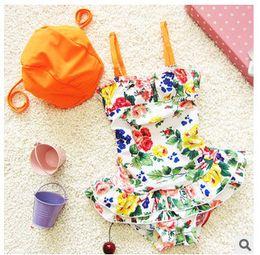Wholesale Fashion Children swimsuits Girls floral suspender falbala skirt Siamese Swimsuit Kids spa Beach swimwear child swimwear T