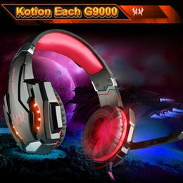 Wholesale KOTION EACH G9000 Gaming Headphone Noise Cancellation Game Headset mm USB Earphone Mic LED Light for PS4 Laptop Tablet Phones V1972