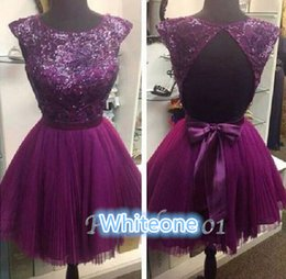 Wholesale 2016 Grape Lace Homecoming Dresses For Sweet Young Girls Cap Sleeves Sexy Backless Knee Length Big Bow Cocktail Graduation Party Gowns