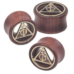 Wholesale Mix mm Death Triangle Piercing Tunnels Ear Plugs Gauges Wood Body Jewelry Ear Expander
