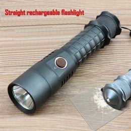 Wholesale ALONEFIRE Straight rechargeable Flashlight Cree XML AlarmSelf LED Flashlight Torch Camping Equipment Lamps Flashlight Waterproof X2
