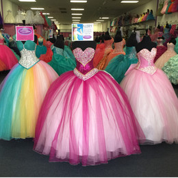 Colorful Ragazza Quinceanera Dresses 2015 Crystal Sequins Sweetheart Sixteen Masquerade Ball Gowns Dress Fuchsia  Hot Pink Vestidos 15