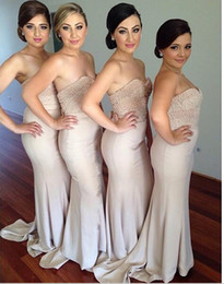 2016 Elegant Champagne Long Bridesmaid Dresses Sleeveless Sweetheart 2015 Pearls Bridesmaid Dress Mermaid For Wedding Party Dress
