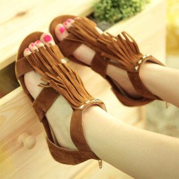 Fashion Women's Ankle Strap Sandals Flats Low Heels Fringes Tassels Sweet Girl Shoes S067 US Size 4 -10.5