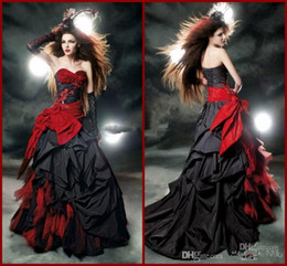 Wholesale - 2014 Red and Black Gothic Halloween Wedding Dresses Lace Tulle Taffeta Bow Ruffles Sweetheart A-Line Bridal Gowns Custom Made W3
