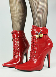 """Wonderheel Extreme high heel 12cm 5"""" stilleto heel sexy ankle boots red patent pointed toe boots with two lockable padlocks"""