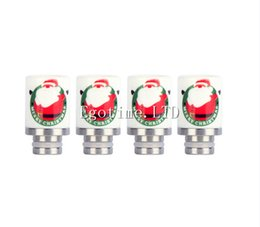 E-Cigarette ego Drip Tip 510 Christmas Santa Claus Ceramic Drip Tip Rda RBA Drip Tip ECIG For Ecig Christmas Drip Tip for Glass Globe tank
