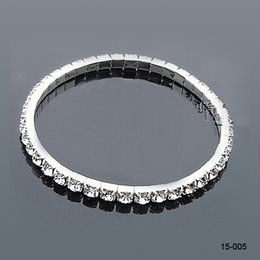 Wholesale The Best Selling Row Rhinestone Silver plated Stretch Bangle Bracelet Wedding Party Bridal Jewelry Accessories