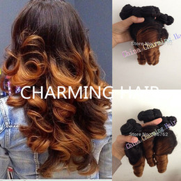 Aunty Funmi Hair Double Drown Ombre Color 100% Virgin Brazilian Bouncy Romance Curl 3pcs Lot Free Shipping