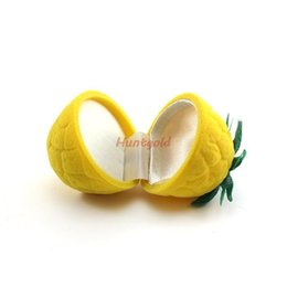 Wholesale-Bright Personality Mini Yellow Pineapple Ring Neacklace Earring Ear Stud Jewelry Box