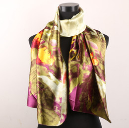1pcs Green Leaves Plum Gold Flowers Women's Fashion Satin Oil Painting Long Wrap Shawl Beach Silk Scarf 160X50cm