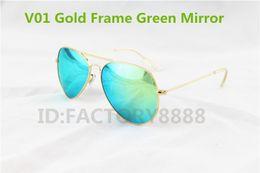 Wholesale High Quality Gold Frame Green Mirror Lens branded Sunglasses For Men s Women s Designer Glass Lens MM can mix order