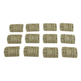 Funpowerland High quality Tan Color 12pcs PACK Tactical W Picatinny Rubber Handguard Quad Rail Protect Covers Tan Hunting Free Shipping