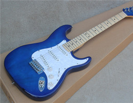 Electric Guitar with Transparent Blue Body and White Pearl Pickguard and Can be Customized as Request