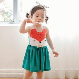2016 New Cute Babies Girls Squirrel Cartoon Dresses Halter Candy Color Dress Western Sweet Girls Party Dress