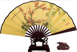 Wholesale Chinese Wedding Fans Men Hand Fans quot Big Folding Fans Retro Bun Deco Fans Bamboo Wedding Tourism Guest Gift