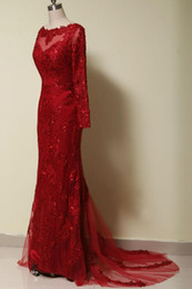 Red Mermaid Lace Evening Dresses with Long Sleeves Sequin Beaded Celebrity Dresses Court Train Formal Occasion Dress