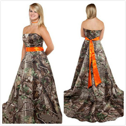 Realtree Wedding Dresses 2015 with Orange Sash Strapless Court Train Lace-up Back Camo Wedding Dresses Modest Formal Camouflage Dresses