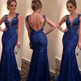 New Summer Prom Dresses For Women V Neck Bakcless Lace Sleeveless Evening Party Club Blue Long Dress