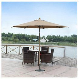 Wholesale Outdoor Solar Round Umbrella Hot Sale Waterproof Cover Polyester Patio Parasols Vintage Fabric Backyard Sunshade Garden Parasol