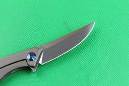 Compra Online Trefilado de acero-Aleta de acero cuchillo de hoja plegable D2 envío de DHL 59-60HRC SatinWire finalizar el dibujo de la cerradura del marco del sistema IKBS mango de titanio cuchilla