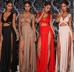 women summer Long Maxi Party Dresses red bandage slit club vestidos prom nude long dresses elegant High Slit Beach Dresses OM327