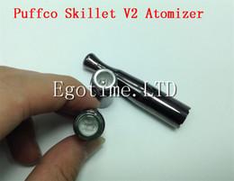 Wholesale Puffco Vaporizer Skillet V2 Atomizer Quartz Wax Vaporizer Clone with Dual quartz Coil Gun Metal Color Metal Drip Tip for thread battery