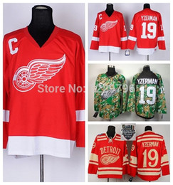 2014 Detroit Red Wings Ice Hockey Jerseys 19 Steve Yzerman Jersey Winter Classic Red Cheap Steve Yzerman Stitched Jersey C Patch