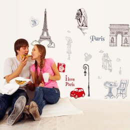 Wholesale wall stickers home decor Three generations of removable wall stickers romantic city of Paris Street Cars UK England figures Arc de Triomphe