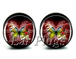 Wholesale ear gauges 60pcs bag butterfly ear plug gauges tunnel ear expander ASP0516