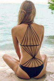 w1025 Blue White Red Black Strappy Design Stretch monokini swimsuit New 2015 one piece bathing suits for women swimwear LC41276