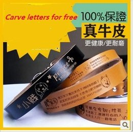 Wholesale Genuine leather pet dog collar carve letters and picture as you wish customized Neck Strap Dog Leather Puppy Cat Pet Dog Collar