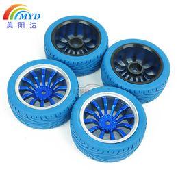 Wholesale 4pcs RC On Road Racing Car Tires Wheel hub Rim Rubber Tires Sponge FG rim blue
