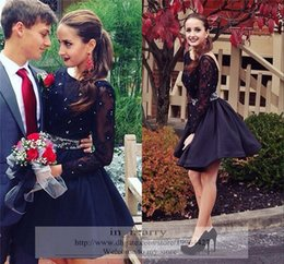 2016 Navy Blue Vintage Lace Short Dresses For Prom with Long Sleeves Plus Size Crystal Beaded Sash Mini Length Formal Homecoming Party Gowns
