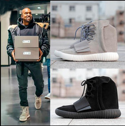 Wholesale With Box Boost Kanye West Leather Ankle Boots Mid Cut Men s Sport Running Shoes US Size